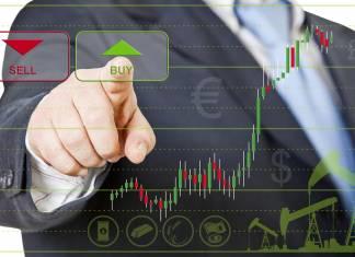 Wykres z przyciskami sell i buy jako symbol zawierania transakcji sprzedaży i kupna na forex